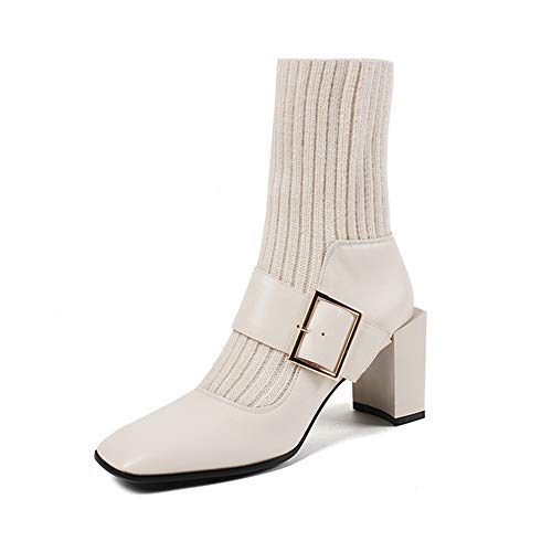 (T-JULY Women's Leather Mid Calf Boots Heels Winter Cowhide Retro Square Toe Knitting Belt Buckle High Heels Balck Plus Size White)