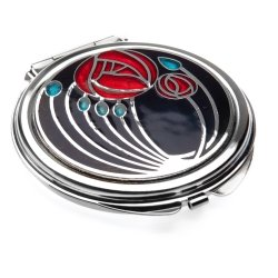 Really Nice Compact Mirror - Rennie Mackintosh Two Roses Design - Black/Red/Aqua