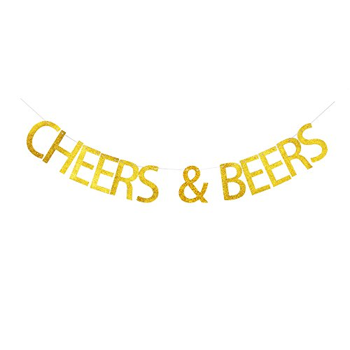 Cheers & Beers Banner, Gold Glitter Sign Decor for Celebrating Theme Party, Birthday Party Decorations