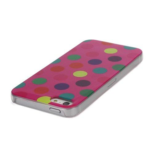 iProtect Hartplastik Schutzhülle iPhone 5 / 5S Case bunte Punkte rosa