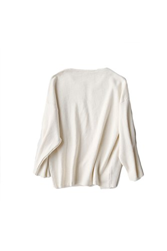 Suelta manga larga frente abierto suéter de la Rebeca Yacun mujer Rice