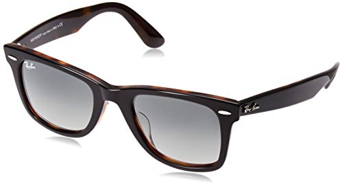 Ray-Ban RB2140F Wayfarer Asian Fit Sunglasses, Tortoise on Grey/Grey Gradient, 52 ()