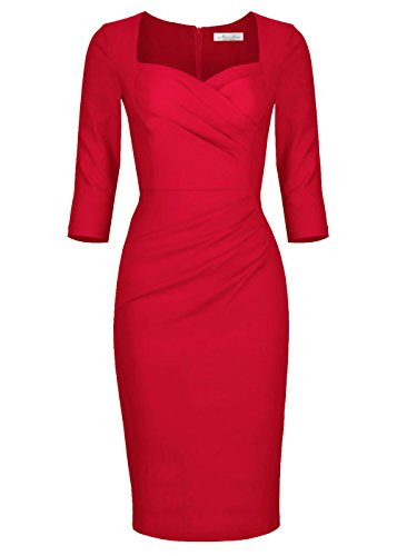 Newdow Lady Celebrity Classic Pleated Inspired Pencil Dress (L, A-red) ()