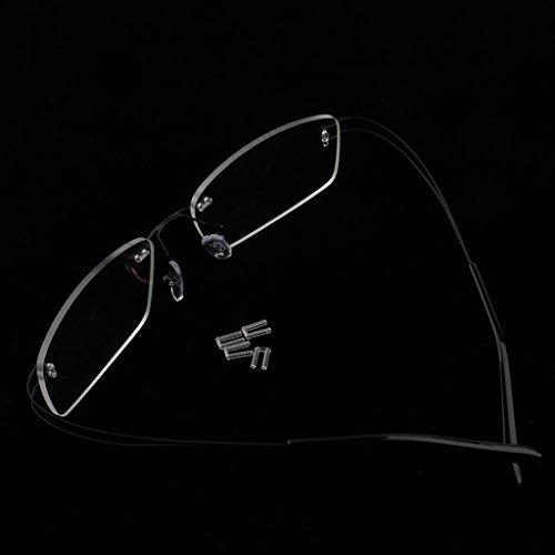 Rimless De Cadre Confortable Pas Magideal Et Elastique Noir Nez Avec Légère Pression Lunettes Sur Métal Mémoire 58xqda