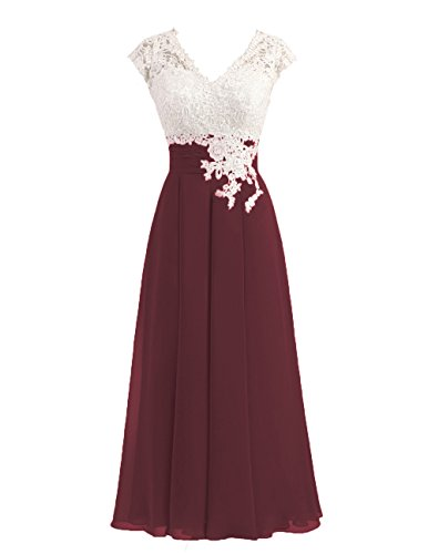 Women's Ivory Lace Top Chiffon Button V-Neck Bridesmaid Dresses with Cap Sleeves Mother of The Bride Dresses (US18W, Burgundy)