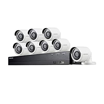 Samsung Wisenet SDH-C84080BF 8 Channel 4 MP Super HD DVR Video Security System 8 Weather Resistant Bullet Camera (SDC-89440BC) with 1TB Hard Drive (Renewed) by Samsung Wisenet