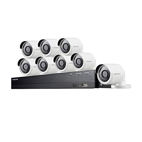 Samsung Wisenet SDH-C84080BF 8 Channel 4 MP Super HD DVR Video Security System 8 Weather Resistant Bullet Camera (SDC-89440BC) with 1TB Hard Drive (Renewed)