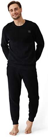 DAVID ARCHY Men's Plush Fleece Sleepwear Warm Cozy Long Sleeve Top & Bottom Pajama Set Big and Tall N