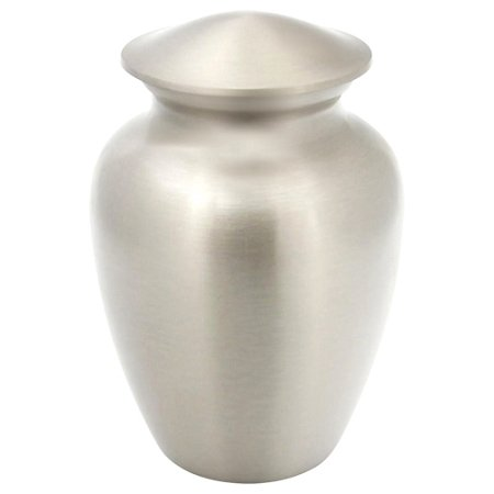 (Silverlight Urns Classic Pewter Cremation Urn, Extra Small Sized Brass Urn with Silver Finish, Child Sized Urn, 6 Inches High)