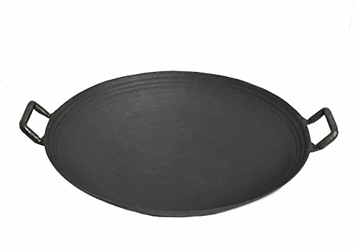 Light Weight Traditional Cast Iron Wok, 410mm (16.14-Inches) | 4.50 Inches (H) | 18-1/2 Inches (With (Pre Seasoned Carbon Steel Wok)