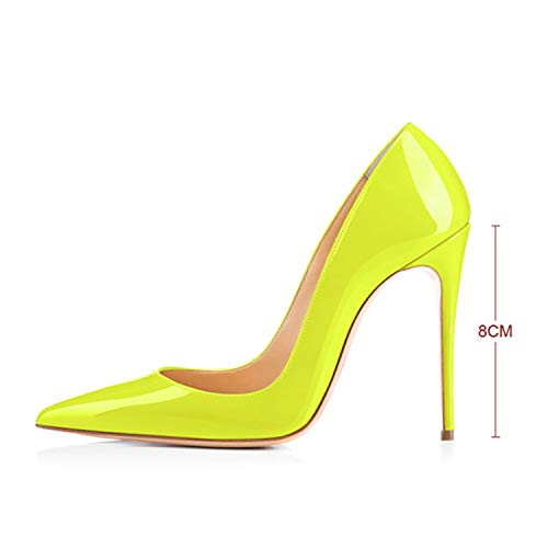 Original Women Pumps Pointed Toe Thin Heels Pumps Nice Patent Leather Shoes Woman Plus US Size 5~15 H161209 8cm 5