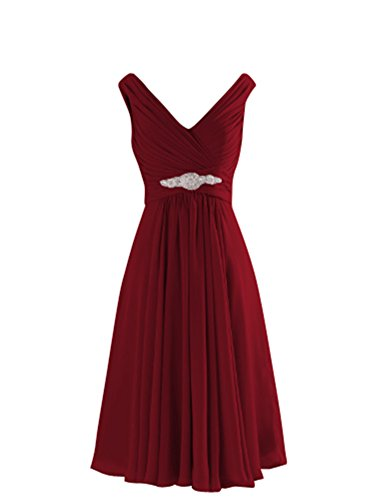 LOVEBEAUTY Women's V Neck Criss Cross Pleated Short Mother Of The Bride Dresses