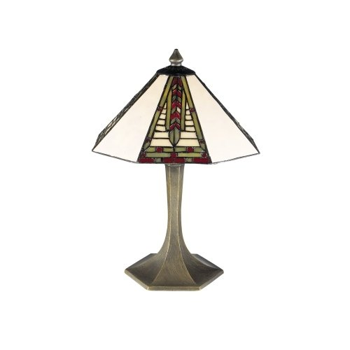 Dale Tiffany 7585/532 Mini Dana Table Lamp, Antique Brass and Art Glass - Lamp Bulb Dana Light