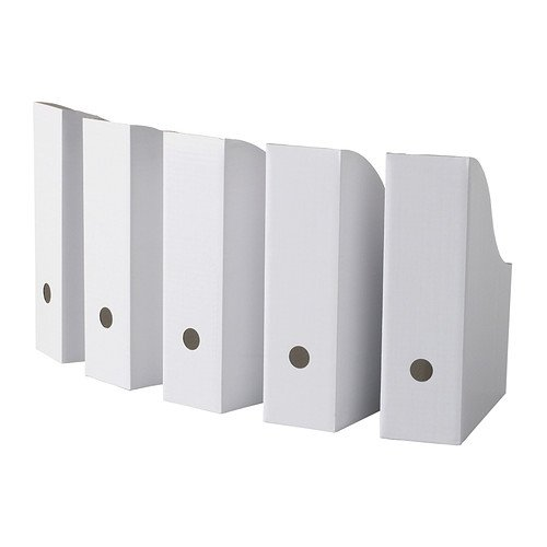 Ikea White Magazine FLUNS File Holder Document Organizer Paper Book Storage Office Desk Organizer By Excel Trading (Pack Of 5)