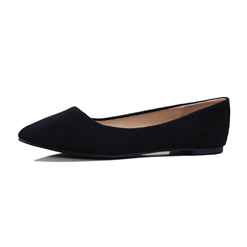 Guilty Shoes Womens Classic Pointy Toe Ballet Slip On Comfortable Flats, Black Suede, 8 B(M) US