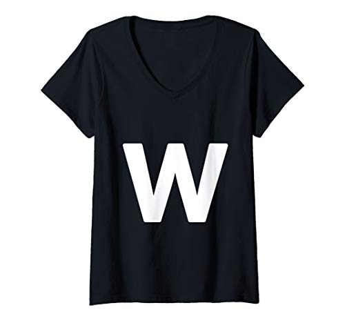 Halloween Costumes Letter W (Womens letter w lower case alphabet matching Halloween ABC V-Neck)