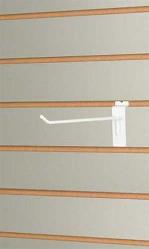 New Box of 100 Retail White Slatwall Hook Integrated Mounting Bracket 6 Inch