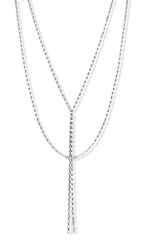(MiaBella 925 Sterling Silver Italian Y Multi Layered Glam Link Chain Necklace for Women, Sterling Silver or 18K Yellow Gold Over Silver, 18 Inch + Drop (Sterling-Silver))