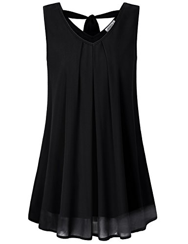 MOQIVGI Chiffon Tunic,Ladies V Neck Bow Tank Tops Sleeveless Layered Stylish Relaxed Fit Party Beach Holiday Blouses Basic Simple Satin Lightweight Comfy Pleated Flowy Shirts Black XX-Large (Satin Bow Tank Top)