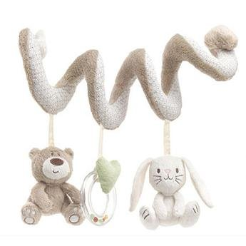 chanys Hanging Plush Toy for Crib & Stroller - Activity Spiral Stuffed Animal Rabbit and Bear with Musical Rattling Bell