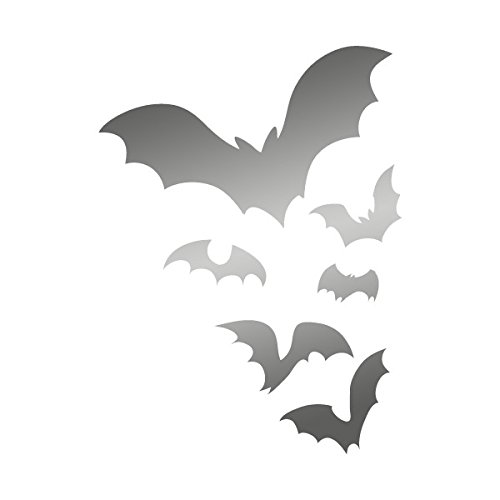 Flock of Bats Flying through the Night Colony Frightening - Vinyl Decal for Outdoor Use on Cars, ATV, Boats, Windows and More - Silver 7 inch ()