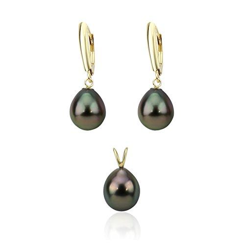 akwaya Femme 14K Poire AAA perle Boucles d'oreilles pendantes sets-039.0-10.0mm