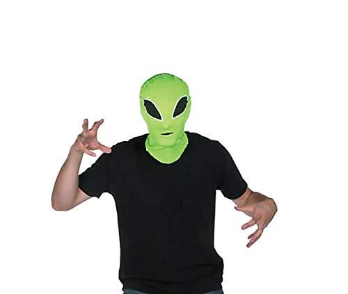 (Polyester Alien Hood Mask - Neon Green)