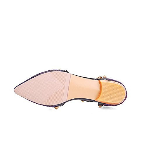 AllhqFashion Womens Closed Toe Cow Leather Low Heels Assorted Color Sandals with Winkle Pinker Purple z395ng