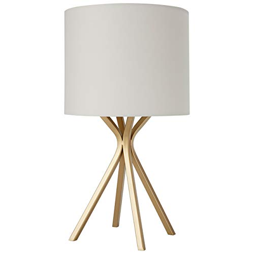 (Rivet Gold Bedside Table Desk Lamp with Light Bulb - 10 x 10 x 18 Inches, Linen Shade)