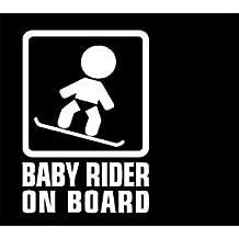 Baby Rider Snowboarder WHITE Vinyl Car/Laptop/Window/Wall Decal