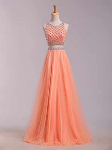 SeasonMall Women's Prom Dress Two Pieces Bateau Beaded Bodice Tulle Dresses Size 6 US Orange by SeasonMall (Image #6)