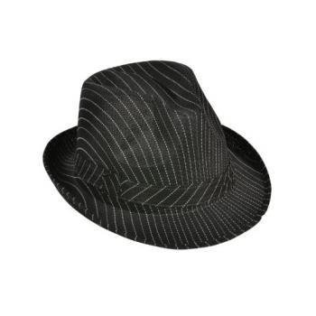 [Roaring 20s Gangster Costume Black Pin Stripe Fedora Hat] (Fedora Gangster Hat)