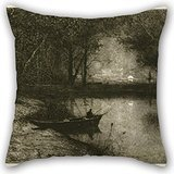 Artistdecor Oil Painting Adolphe Appian - Fisherman In A Rowboat, At The Edge Of A River Throw Pillow Case 16 X 16 Inches / 40 By 40 Cm Gift Or Decor For Bedroom,gf,bedding,office,home Theater,adul ()