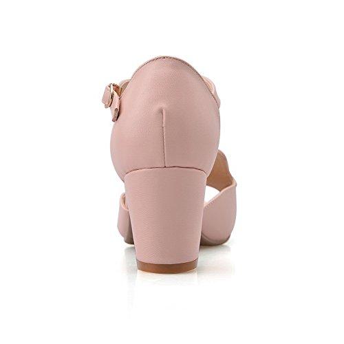 AgooLar Mujeres Sintético Peep Tacón ancho Hebilla Sólido Sandalia Rosa