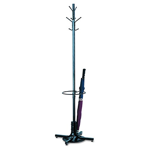 (Safco Products 4168BL Costumer Coat Rack Tree with Umbrella Stand, Black)