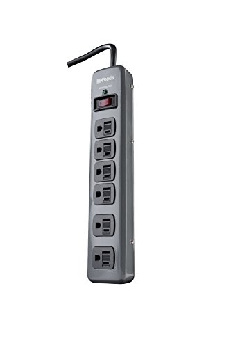 Woods 41546 Metal Surge Protector with 6 Outlets Lighted Circuit Breaker Switch, 900J of Protection, 3 Foot Cord, Dark Gray ()