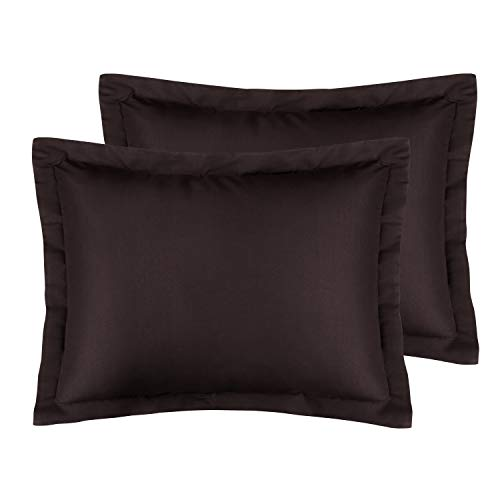 FLXXIE Standard Shams, Pillowcases, Pack of 2, 100% Brushed Microfiber, Ultra Soft, Chocolate ()