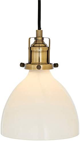 Rivet Lux Brass Pendant, 9 H, Glass Shade