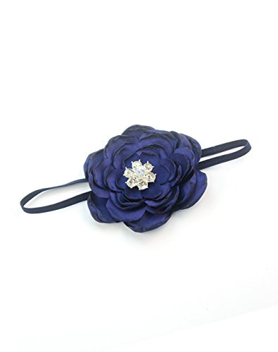 Elastic Kids Baby Headband with Burned Satin Flower Shiny Rhinestone Headwear JA58 (1-Navy Blue)