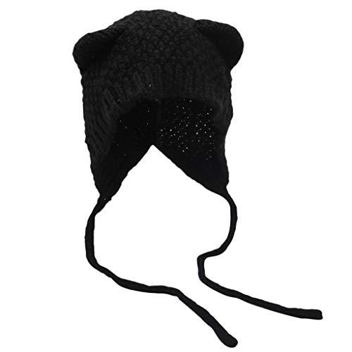TOTAMALA Women Winter Knit Hat Cat Ears Set Thick Warm Solid Earmuff Hat
