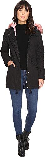 Only Women's Blog Contrast Pink Fur Parka Black 1 - Pink Blogs