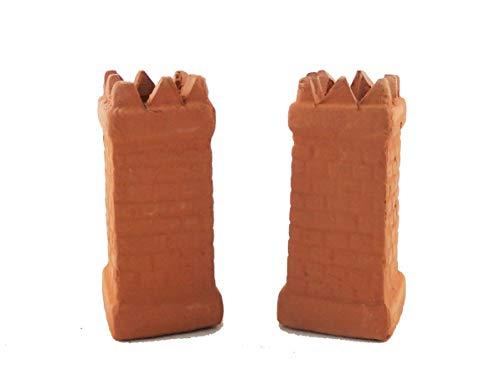 Melody Jane Dollhouse Square Crown Chimney Pots Terracotta Medium 1:12 Scale