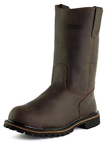 Westland Men's Texan Steel Toe Real Flexibility Outstanding Traction EH Water Resistant Wellington Leather Work Boots (13) Coffee Brown ()