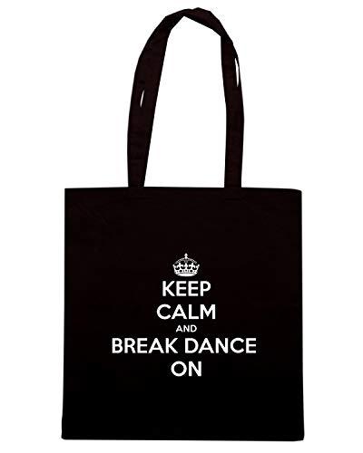 Speed Shirt Borsa Shopper Nera TKC0980 KEEP CALM AND BREAK DANCE ON