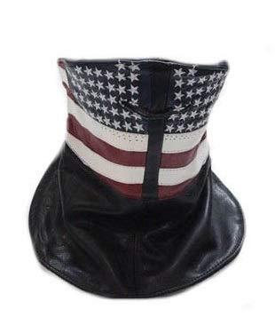 Billys Biker Gear Leather US Flag Motorcycle Face Mask