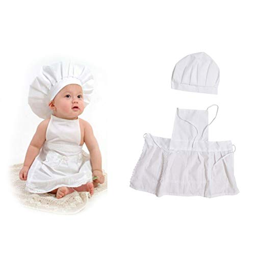 Aprons for Kids Cute Baby Chef Apron Hat for Kids Costumes Cotton Blended -