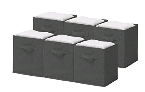 Foldable Storage Cube, HOOHI Folding Cloth Storage Cube Shelves Basket Bins Organizer Household Fabric Cloth Collapsible Box Storages Drawer, 6 Pack Set (Gray) (Gamer Car Seat Covers compare prices)