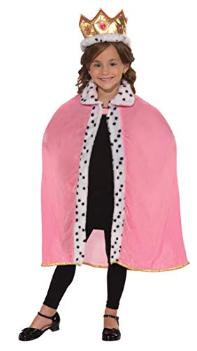 Forum Novelties Girls Pink Queen Cape and Crown Costume, One Size, One -