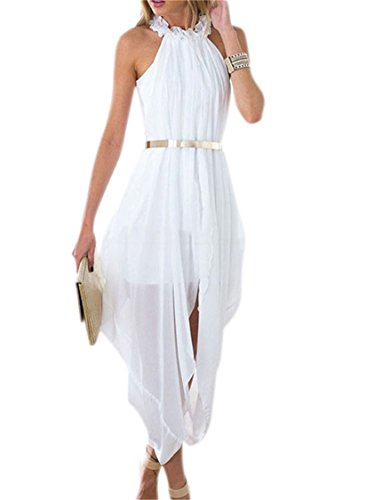 Women's Fashion White Sheer Chiffon Halter Turtle-neck Fold Sleeveless Hi-low Delicate Gold Belt Loose Dress for Women M -