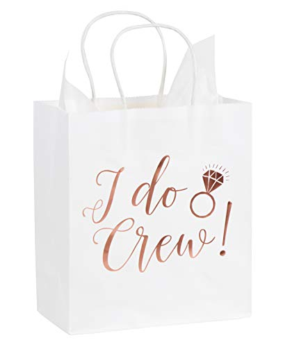 Bridesmaids Gift Bags (I Do Crew Gift Bags - 15-Pack Bridesmaid Gift Bags with Rose Gold Foil, Small White Paper Bags, 20 Sheets Tissue Paper Included, Bridal Party Gifts, 8 x 4 x)